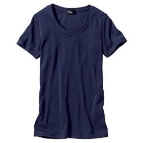 [nissen(ニッセン)] 綿100% 半袖 クルーネック Tシャツ 大きいサイズ レディース ネイビー 5L