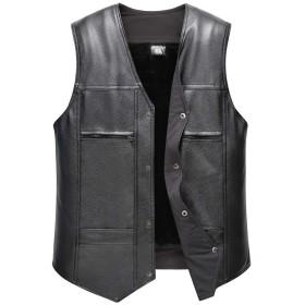 Lisa Pulster メンズ ベスト PU レザーベスト ジャケット 革ジャン アウター 裏起毛 暖かい Vネック 黒 ファッション ビジネス おおきいサイズ (ブラック, XL)