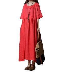 EASONDDD レディース ワンピース ゆったり 体型カバー 森ガール スプライス 綿麻 ワンピース 大振り子 ロングスカート エレガント 半袖シャツ ドレス マキシ ワンピース 大きいサイズ Aライン 無地
