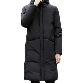 MISSMIAOダウンコート メンズ フード パーカ ロング ビジネス 軽量 スーツ 防寒 スポーツ サッカー ベンチ ゆったり カジュアル (ブラック, XXXL)
