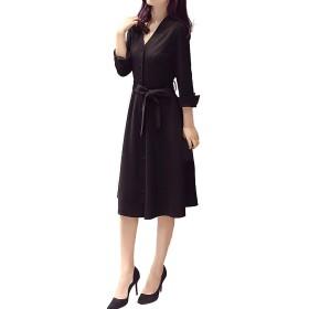 ワンピース 黒 前ボタン フォーマル きれいめ ビジネス Vネック ドレス レディース (S)