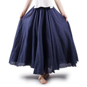 OCHENTA(オチェーンタ)レディース ロングスカート 広幅 ふんわり 森ガール 無地 マキシスカート シンプル セレブ ウエストゴム 透けない 綿麻 Aライン リネン ブルー 105CM