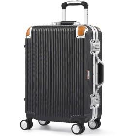 [スイスミリタリー] Premium プレミアム スーツケース Type C アルミフレームタイプ 天然皮革プロテクター TSAロック ウレタン素材ダブルキャスター 軽量 傷防止 一年保証 [SWISS MILITARY]/Sサイズ 34L ブラック(SM-C620N/Deep Black)