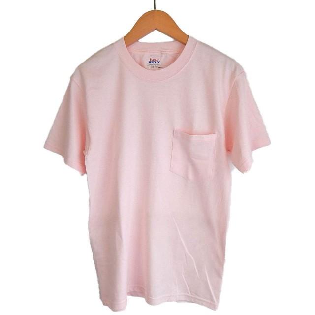 (ヘインズ) HANES BEEFY TEE POCKET ヘインズ メンズ ポケットTシャツ 5190p ビーフィー [並行輸入品] (S, ライトピンク)