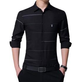 [MAJIAWEI] メンズ カジュアル シャツ 細身 長袖 タイト ボタンダウンシャツ (L, ブラック)