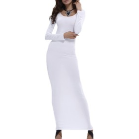 女性の長い袖のボディコンロングマキシの鉛筆のパーティードレス White LMT17072515-White-S