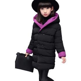 JIANGWEI 子供服 女の子 ダウン ジャケット アウター 中綿 コート フード付き 軽い スリム 可愛い カジュアル おしゃれ 無地 両面着 パープル160