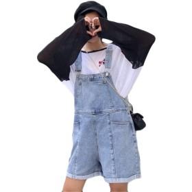 [バンプー] サロペット デニム 短パン レディース ゆったり ショートパンツ オールインワン デニムパンツ カジュアル ハイウェスト ポケット付き 韓国風 シンプル ファッション ブルーS
