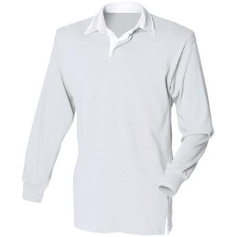 (フロント・ロウ) Front Row メンズ クラシック 長袖ポロシャツ ラガーシャツ トップス カットソー 男性用 (L) (へザーグレー/ホワイト)