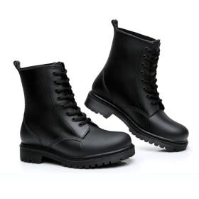 [もうほうきょう] 雨靴 レインブーツ 低くてスリップ防止 秋冬マーチンブーツ水靴 メンズ雨靴 短筒 耐水 ファッション (26 cm, ブラック(綿カバー))