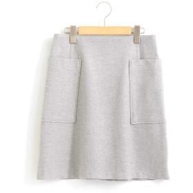 (ルクールブラン) le.coeur blanc ツイードライクトラペーズスカート 38 L/グレー柄