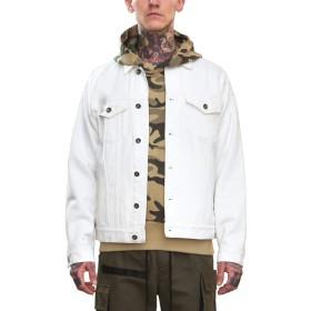 [ビヨンドユー] Gジャン メンズ デニムジャケット 長袖 カラー パーカー ジャケット ビッグシルエット byd8755w-WHT-M