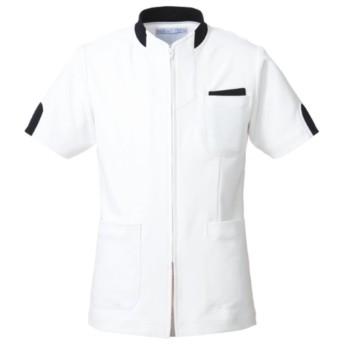 (アプロン) AP-RON 男女兼用 ジャケット 半袖 上衣 白衣 248-28 Mサイズ ネイビー