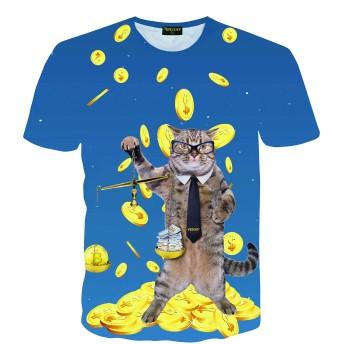 Pizoff(ピゾフ) メンズ 猫Tシャツ 半袖 ブルー ネコ ドル柄 派手 おもしろ スリム カジュアル カットソー-AC145-61-XL