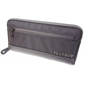 (プレイボーイ)PLAYBOY 財布 長財布 ラウンドファスナー ブラック 止水風ファスナー メタルロゴ P419-91
