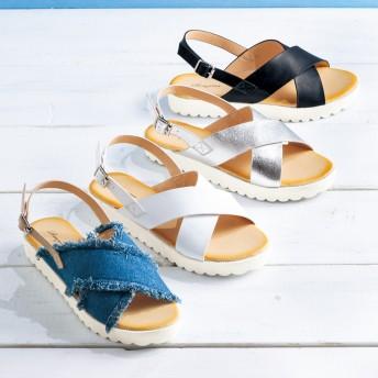 【格安-女性靴】レディースクロスベルトサンダル
