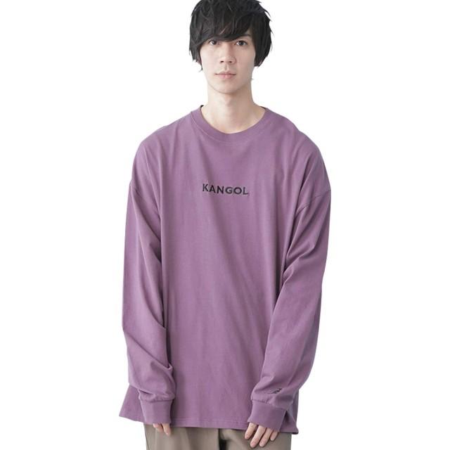 (カンゴール) KANGOL 別注ロゴ刺繍 ビッグシルエット プリント 長袖Tee Tシャツ モチーフ刺繍 メンズ パープル(LOGO DESIGN1) フリーサイズ