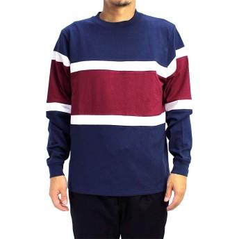 (グッドウェア) Goodwear メンズ USAコットン配色切替ビッグロンT (Medium, ネイビーF8)