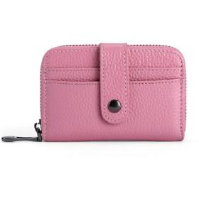 女性 財布 ファーストレザーレザー カードホルダー ミニショート ウォレット (Color : Pink, Size : S)