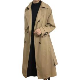 BSCOOLロングコート レディース スプリングコート トレンチコート 韓国風 ゆったり 無地 薄手 春服 コート アウター(Aカーキ)