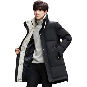 (ニカ) ダウンジャケット メンズ ダウンコート 韓国風 ロング丈 コート 中綿ジャケット 無地 厚い 冬着 暖かい 防風 防寒 カジュアル かっこいい 学生 通学 通勤ブラックT1