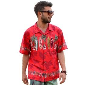 【Palmwave】 アロハシャツ 半袖シャツ 大きいサイズ メンズ ボード ヤシ レッド XXL