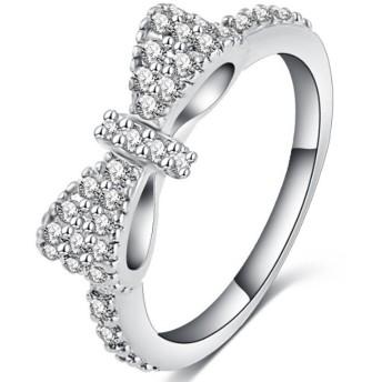 Honel 指輪 レディース リボン かわいい 蝶結び CZ パヴェ リング 指輪 K18 ホワイトゴールド メッキ 日本サイズ 18
