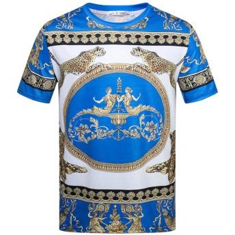 Pizoff(ピゾフ) メンズ Tシャツ 半袖 豹柄 花柄 b系 個性 渋谷 大きいサイズ ストリート カットソーAC148-17-M
