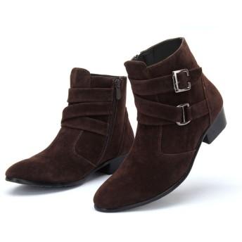 [スフォン] カジュアル ショートブーツ メンズ サイドジッパーブーツ クロスベルト ウエスタンブーツ 紳士靴 ワークブーツ ユニセックス (25.5CM, ブラウン/スエード)