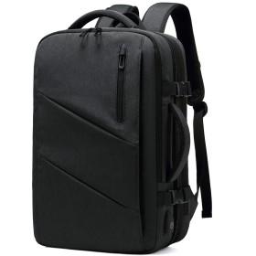 [Bellstone] リュック メンズ 大容量 スクエア リュックサック 防水 バックパック 3way USB充電ポート BS-BG-1811 (黒)