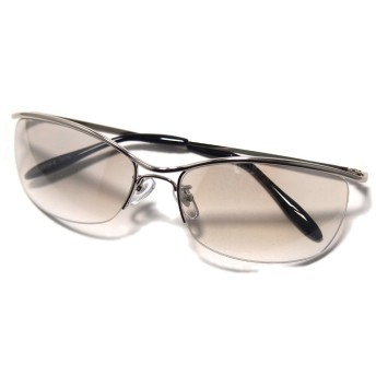 かっこいい!リームレス型サングラス メンズ UVカット ブロー型 ミラー クール系 (クリアミラー)