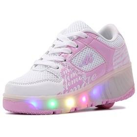 [BLLendina] メンズ レディース キッズ ローラーシューズ 光る 子供 誕生日プレゼント led 滑れるスニーカー 靴 マジックテープ 大人 (22.5cm ピンク)