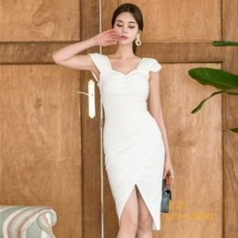 ホワイト 白 タイトワンピース 30代 お嬢様 膝丈 お呼ばれ 韓国風 二次会 フォーマルワンピース ノースリーブ 20代 夏 パーティー