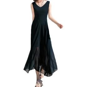 [Nana_Collection(ナナコレクション)] 春 夏 ドレス ワンピース ロング丈 リゾート 海 ビーチ ボヘミアン シーサイド 背中魅せ セクシー ブラック XL