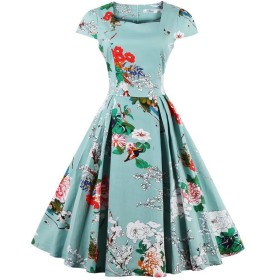 EASONDDD レディース ワンピース ドレス フレアワンピース Aライン ひざ丈 花柄 レトロ Vネック きれいめ パーティー 結婚式 発表会 お呼ばれ 大きいサイズ対応 グリーン4XL