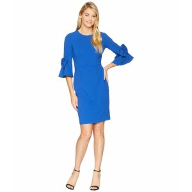 ドナモーガン レディース ワンピース トップス 3/4 Bell Sleeve Crepe Shift Dress w/ Bow Detail at Wrist Blue Flame