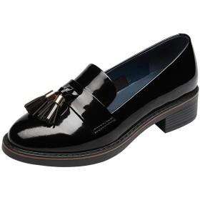 [KENOL] レディーズ可愛いフリンジシューズタッセル靴学院風天然皮革 (22.5, ブラック)