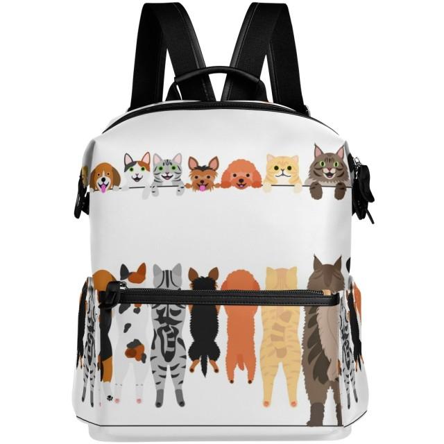 VAWAリュック大容量おしゃれかわいい猫柄犬柄リュックサック高校生防水多機能バッグバックパック通勤通学旅行用