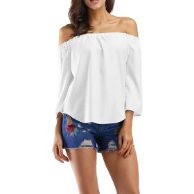 VITryst Womens Loose Strappy Solid Colored Off-Shoulder Tshirt Blouse Top White XS