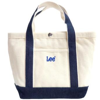 Lee リー ミニトートバッグ トート バッグ ランチバッグ 0425287 キャンバス ロゴ刺繍 (フリーサイズ(男女兼用), ネイビー)