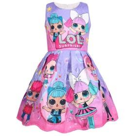 LATLONG ガールズ サプライズ ドールLOL ドレス 子ども Lol Surprise Doll キッズ ノースリーブ ワンピース 可愛い 女の子ドレス 7種類展開(140cm,654-パープル)