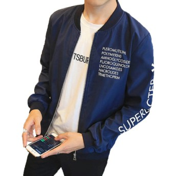【Smile LaLa】 メンズ 英字 ロゴ ジャンパー ライト アウター シンプル カジュアル スタジャン MA-1 ブルゾン 防寒 ジャケット (L, ネイビー)