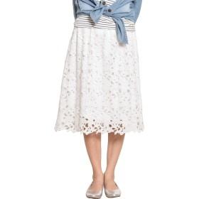 パネットワンpane(t)one スカート 花柄レーススカート&レースガウチョパンツ レディース 【B】 レースミモレスカート ホワイト