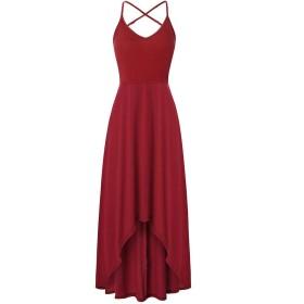 WE&energy 女性バックレス花プリント高低裾ガーデンパーティードレス Wine Red XS