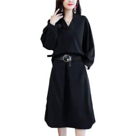 ユワンYuWan パンツドレス レディース セットアップ 上下セット 長袖 ブラウス フォーマル パーティー 結婚式 通勤 ドレス 黒ブラック XL