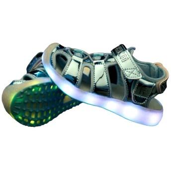 [FADVES] キッズサンダル LEDサンダル 子供サンダル 光るサンダル 発光靴 子供靴 男の子 女の子 USB充電式 ピカピカ光る靴 ライトキッズシューズ 通園 通学(21.4cm、ブルー)