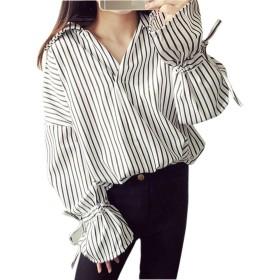WENHAIレディース カジュアル 素晴らしい 純色 長袖 シャツ ブラウス 白 ワイシャツ 襟付き レディース トップス 通勤 通学 ゆったり