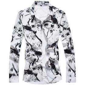 メンズ 長袖 シャツ 花卉の柄 カジュアル 白 ワイシャツ 薄手 開襟シャツ 大きいサイズ 春夏秋