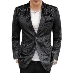 [MANMASTER(マンマスター)]テーラードジャケット ブレザー 総柄 二つボタン ステージ衣装メンズ CH551 (XL, ブラック)