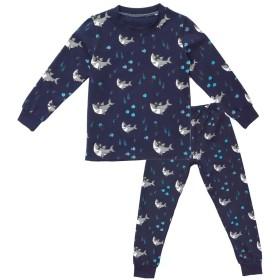 KISBINI キッズ 子供服 上下セットルームウェア パジャマ 長袖 Tシャツ ズボン 寝間着 寝巻き 部屋着  薄手綿 (90-130cm) (ブルー, 100cm)